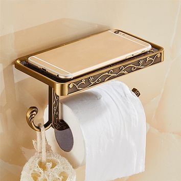 Antique Style Carved Zinc Alloy Bathroom Paper Mobile Phone Holder With Shelf Bathroom Towel Rack Toilet Paper Holder Tissue Boxes
