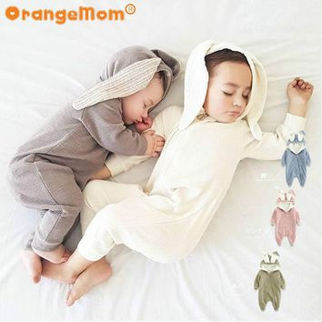 2017 cartoon style animal jumpsuits with long ear baby girl set 5 colour cotton Baby Boy Rompers  New Born Baby Clothes romper