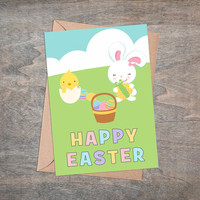 """Happy Easter - Printable Greeting Card, Instant Download, 5x7"""", Cute Easter Gift, Eggs, Yellow Chicken, White Rabbit, Pastel Colors"""