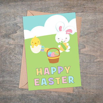 "Happy Easter - Printable Greeting Card, Instant Download, 5x7"", Cute Easter Gift, Eggs, Yellow Chicken, White Rabbit, Pastel Colors"
