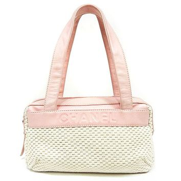 AUTHENTIC CHANEL Shoulder Bag White/pink canvas/leather Women