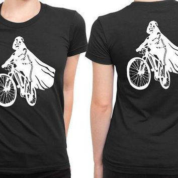 Darth Vader Is Riding It 2 Sided Womens T Shirt