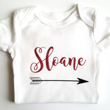 Glitter shirt bodysuit, Personalized name bodysuit, First Birthday, Baby shower, cute baby gifts, chic arrow, rustic, baby boy girl, cursive