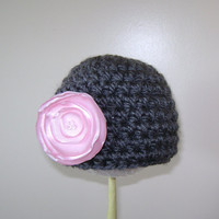 Baby Girl Hats. Crochet Baby Girl Hat with Detachable Flower clip - Photo Props
