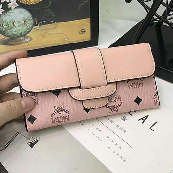 MCM Popular Women Simple Leather Print Buckle Purse Wallet Pink