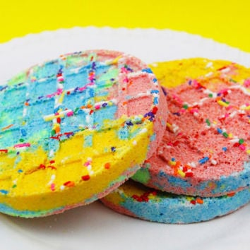 Rainbow Sprinkles Waffle Bath Bomb / Bath Bombs / Bubble Bar / Rainbow Bath Bomb / Bath / Bath Salts