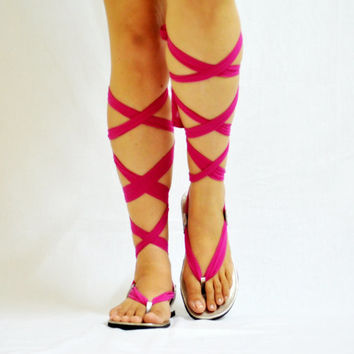 Leather Sandals, Knee High Gladiators, Scarf Sandals, Wrap up Custom made ALL SIZES - Aiswarya