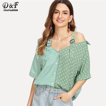 Dotfashion Open Shoulder Contrast Panel Cotton Shirt Women Casual Summer Straps Half Sleeve Tops Ladies Striped Polka Dot Blouse