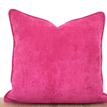 Pink velvet pillow cover girls' room decor, fuchsia throw pillow triming, plain cushion case for pink decor, designer pillow