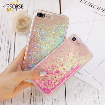 KISSCASE liquid glitter Case For iPhone 6 7 8 plus Case For iphone 5S SE 5C Coque Quicksand pink Hard Plastic Case For iPhone 4S