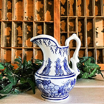 Transferware Creamer, Blue Transferware, Ironstone Creamer, Blue Creamer, Holiday Creamer, Ironstone Pitcher, Vintage Transferware, Royal