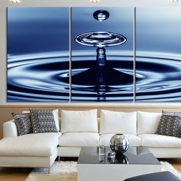 Canvas Print Water Drop and Waves - Large and Great Blue Blob Water Canvas Print - Can be edited Colors
