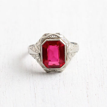 Vintage 10k White Gold Ruby Ring - Antique Size 7 1/4 Art Deco 1920s Pink Gemstone Ring Hallmarked OB Ostby Barton