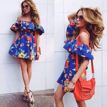 Fashion Off Shoulder Multicolor Flower Print Frills Strapless Mini Dress
