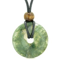 Amulet Magic Large Coin Shaped Donut Positive Powers Green Moss Agate Healing Lucky Charm Necklace