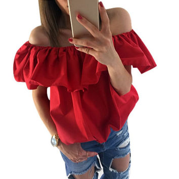 OL Style Women Sexy Off Shoulder Casual Blouse Summer Tops Blouse