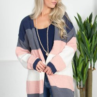 Blushing Block Chenille Cardigan