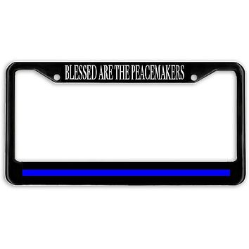 Peacemakers Thin Blue Line Police Support Blue Lives License Plate Frame Holder Black