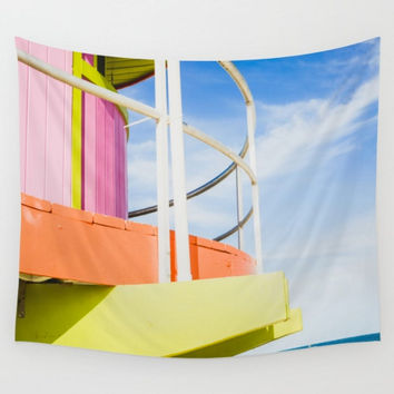Lifeguard Station in Full Color, Miami Beach Wall Tapestry