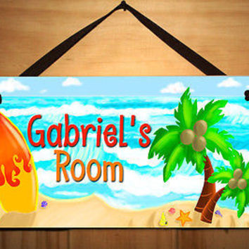 Kids Door Sign Surfing Ocean Surf Key West Boy Room Personalized Name DS0197
