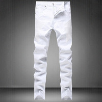 Slim Stretch White Mosaic Fashion Men's Fashion Pants Jeans [6541849347]