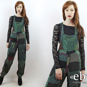 e173f72af01c Vintage 90s does 70s Green Patchwork Overalls S M L Hippie Overa