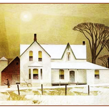 AJ Casson Winter Sun Farm House Ontario Canada Landscape Counted Cross Stitch or Counted Needlepoint Pattern