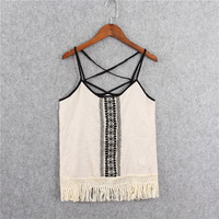Fashion Casual Embroidery Tassel Sleeveless Strap Vest Tops