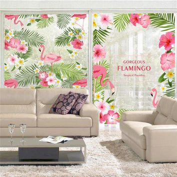 Romantic Garden Flamingo Flower Wall Art Sticker