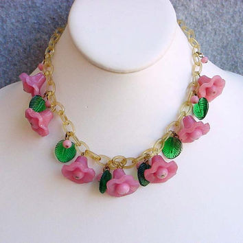 "Venetian Glass Pink Bellflowers Necklace Celluloid Chain Miriam Haskell Attributed Runway Bib Choker 15 1/2"" Vintage Costume Jewelry Green"