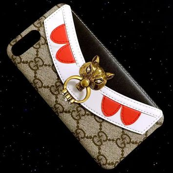 GUCCI Fashionable individual fox head pearl iPhone Phone Cover Case For iphone 6 6s 6p
