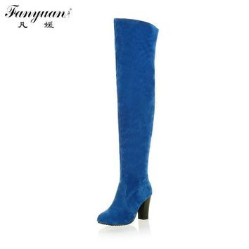 2017 Big size 34-43 Women Knee High Boots Sexy Chunky High Heels Round Toe Spring Autu