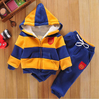 Baby Sports Suit Jacket Sweater Coat & Pants Thicken Kids Clothes Set 2015 Hot Sell Boys Girls Children Winter Wool Sherpa