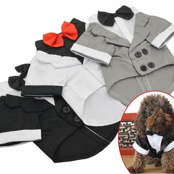 New Pet Clothes Puppy Shirt Dog Wedding Tuxedo Western Style Suit with Bow Tie Apparel Clothing For Dogs Coat Free