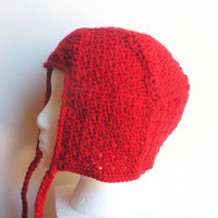 Crochet Patchwork Hat in Solid Red textured squares, ready to ship.