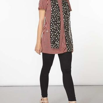 Red Dogstooth Pocket Tunic - Tunics - Clothing