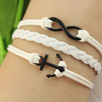 anchor charm infinity bracelet--Electrophoresis black charm,white wax string&braid leather,gifts
