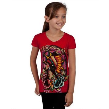 PEAPGQ9 Ed Hardy - Native American Girl & Roses Girls Youth T-Shirt