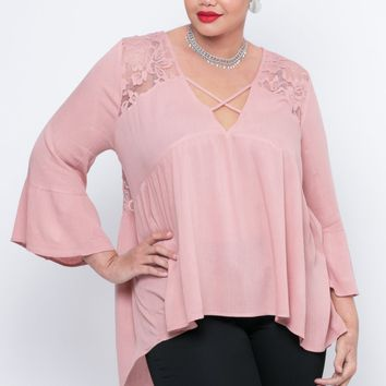 Plus Size Gauze Beatriz Blouse - Blush
