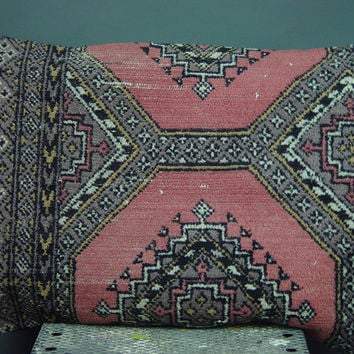 "Vintage Pillow Cover Large Wool Pink Gray Carpet Rug Throw Rectangular 24"" x 16"""