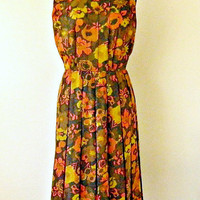 Vintage Dress, Womens Dress, Floral Dress, Hand Tailored Dress, Sleeveless Dress, Autumn Colors, RETRO Flowered Dress, Orange, Gold, Brown
