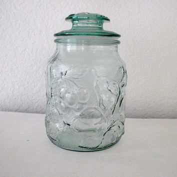Vintage, Clear Green Glass Canister, Fruit and Berries