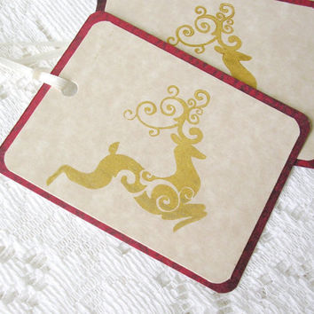 Christmas Gift Tags, Reindeer Gift Tags, Gold Christmas Tags Handmade, Handstamped Holiday Tags, Favor Tags