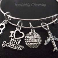 I Love my Soldier! traveling soldier theme........ Stainless Steel Expandable Bangle, monogram personalized item No.217