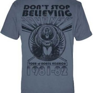 Journey Band Don't Stop Believing Tour Logo Licensed Adult T-Shirt - Blue