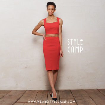 Kirsten Two Piece Bralet and Pencil Skirt Set in Red