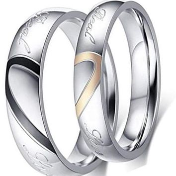 CERTIFIED 5MM 4MM Black Heart Shape Titanium Stainless Steel Couple Rings