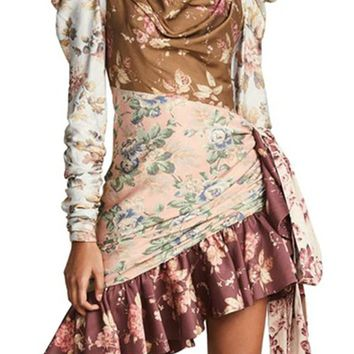 Fabulous In Florence Multicolor Patchwork Floral Pattern Long Puff Sleeve Tie Mock Neck Draped Cut Out Waist Ruffle Asymmetric Mini Dress