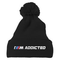 I'm Addicted To BMW Embroidered Knit Pom Cap