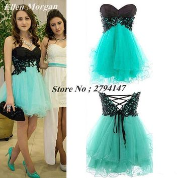 Cheap Short Cocktail Dresses Under 50 Sexy Mini Tulle Corset Lace Back to School Graduation For Girls 2017 Homecoming Party Gown